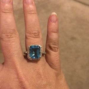 Jewelry - Blue topaz and diamond cocktail ring